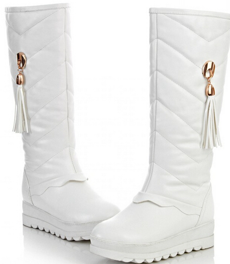 цена на Women Winter Chunky Heel Height Increase Elevator Fashion Warm Knee High Boot Size 34-39 SXQ0929