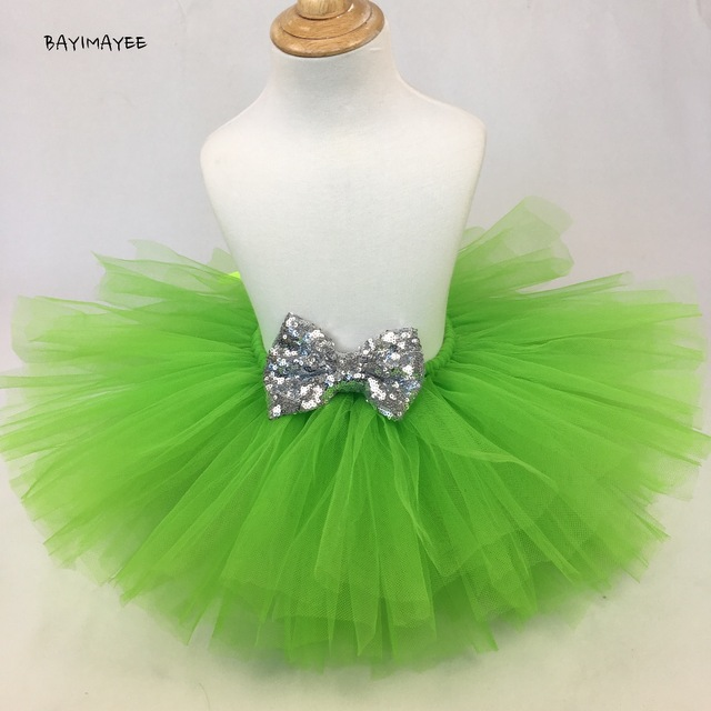 c60b4405df9f Girls Green Tutu Skirt Baby Tulle Pettiskirts with Silver Sequin Bow ...