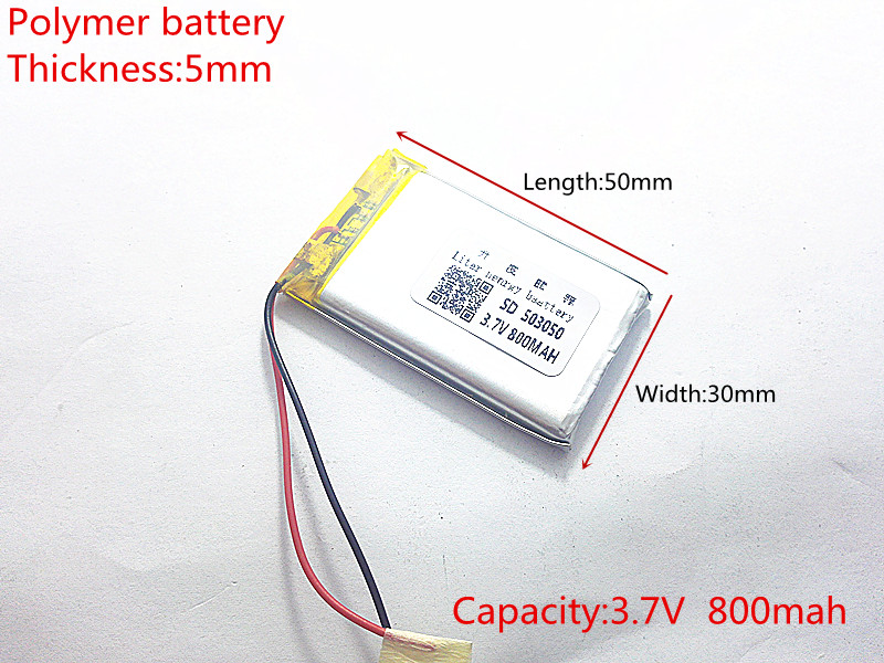 3.7V 800mAh 503050 Lithium Polymer Li-Po li ion Rechargeable Battery cells For Mp3 MP4 MP5 GPS mobile bluetooth 3 7v 300mah battery 402530 lithium polymer li po li ion rechargeable battery for mp3 mp4 mp5 gps psp mobile electronic part