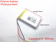 3.7V 800mAh 503050 Lithium Polymer Li-Po li ion Rechargeable Battery cells For Mp3 MP4 MP5 GPS  mobile bluetooth