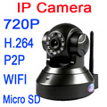 Ip камера микро-sd P2P и играть 720 P 1,0-мегапиксельная HD беспроводная IP камера с / наклона слот для карт SD и ик-cut 720 P wi-fi H.264