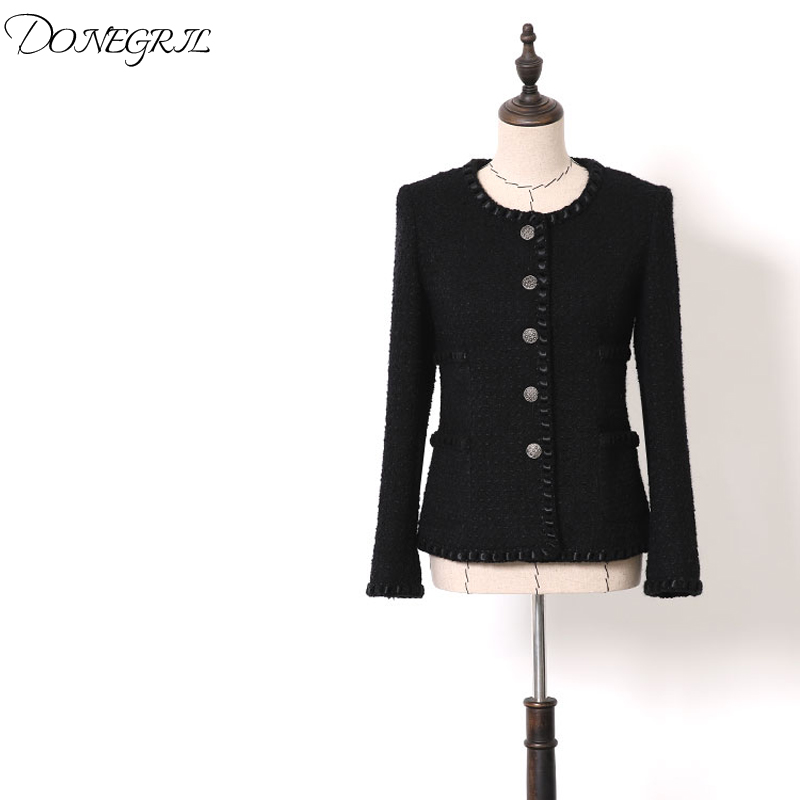 2019 spring and autumn women's new black   basic     jacket   wool heavy industry tweed fashion short coat Korean