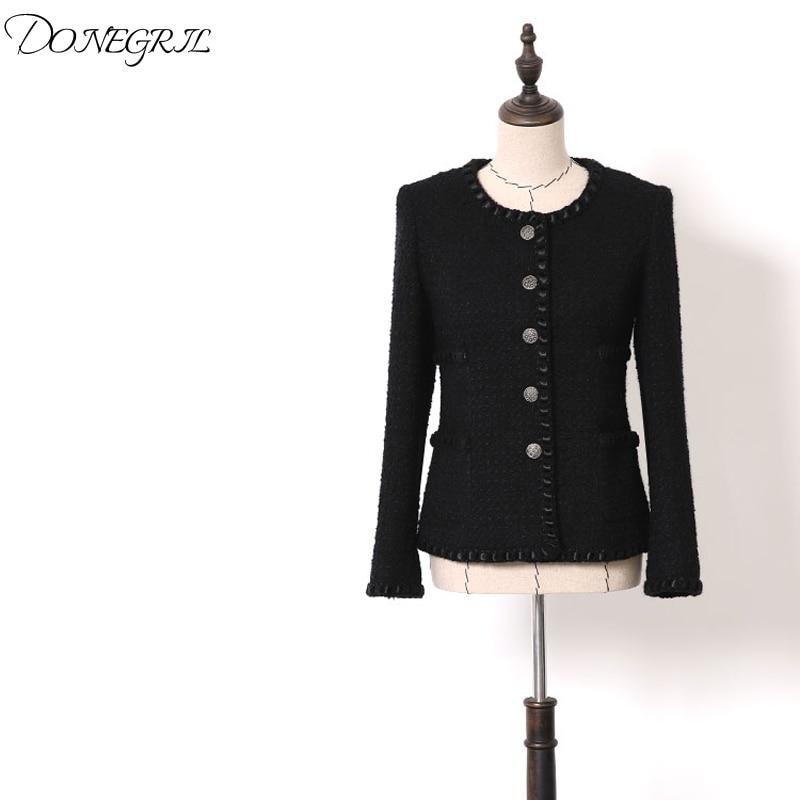 2019 spring and autumn women's new black   basic     jacket   wool heavy industry tweed fashion short coat Korean