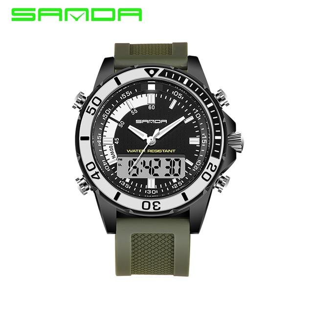 Men's Sports Watches Luxury Brand Sanda Military Multifunctional Watches Waterproof Fashion Casual Quartz Watch Digital & Analog