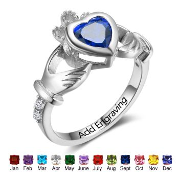 925 Sterling Silver Claddagh Rings Personalized Heart Birthstones Rings Irish Friendship Women Jewelry Gifts(RI102799)