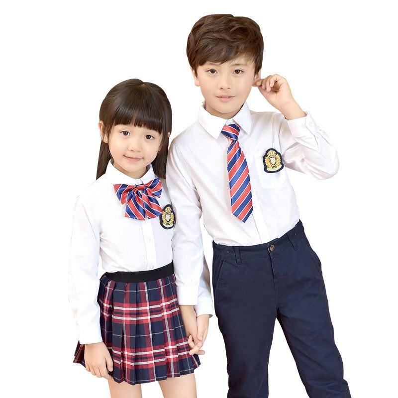 Детская форма хлопок Модная молодежная школьная форма для мальчиков и девочек хлопковая рубашка платье клетчатая юбка брюки галстук набор