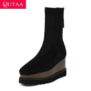 QUTAA 2020 New Autumn Winter Fashion Genuine Leather Mid Calf Boots Stretch Fabrics Thick Bottom Zipper Women Boots Size 34-42