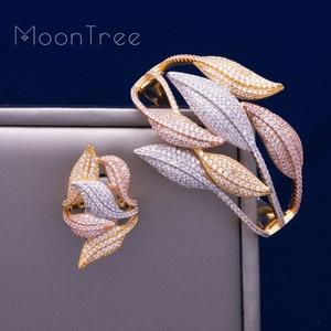 Image 3 - MoonTree Luxury SunFlower 3 Tone Full AAA Cubic Zirconia Wide Bracelet Bangle Ring Set Dress jewelry sets For women