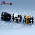 Steel soldier Punk Biker Men's Titanium Stainless Steel Ring Multi Rock lots Skull Ring For Men BR8-079