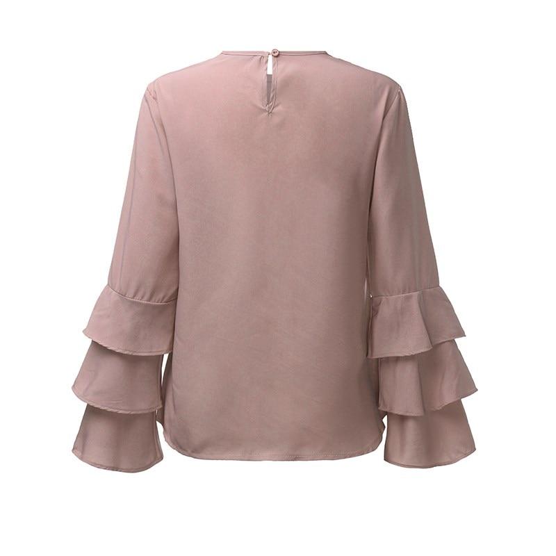Zanzea kobiety bluzki koszule 2017 jesień eleganckie panie o-neck falbanką długim rękawem stałe blusas casual loose tops 18