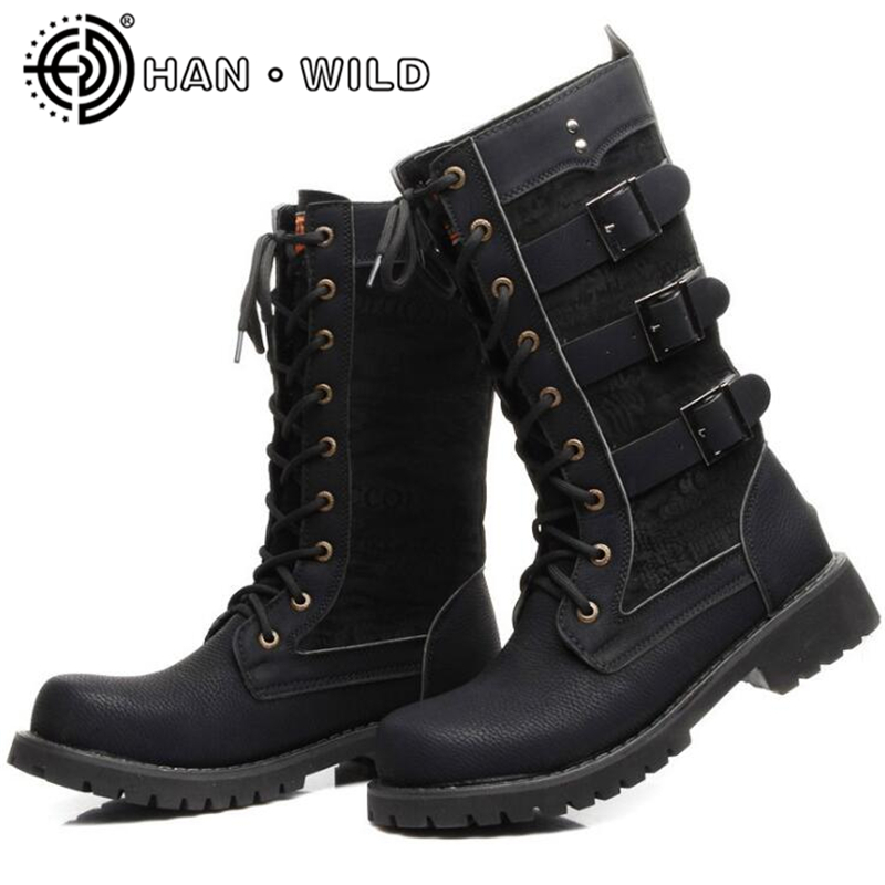 купить Men's Lace-up Leather Work Boots Military Shoes Metal Buckle Punk Mid Calf Male Motorcycle Martin Boots Men Army Combat Boots онлайн