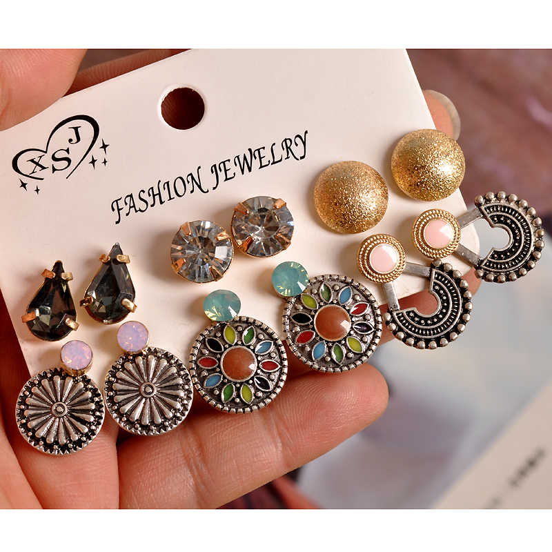 2019 New fashion women's jewelry wholesale girls' party Bohemian style stud earrings mix and match 6 pairs /set earrings gift