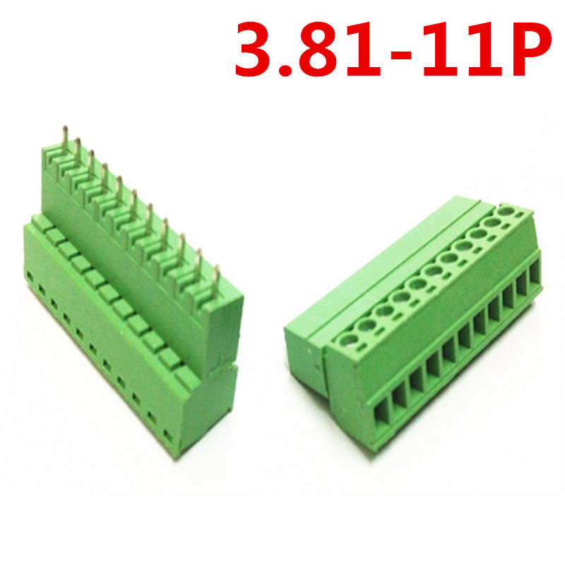 10sets 11 Pin 300V 10A 3.81mm pitch Straight Universal Pluggable Type Green Screw Terminal Block Connector Pin header and socket