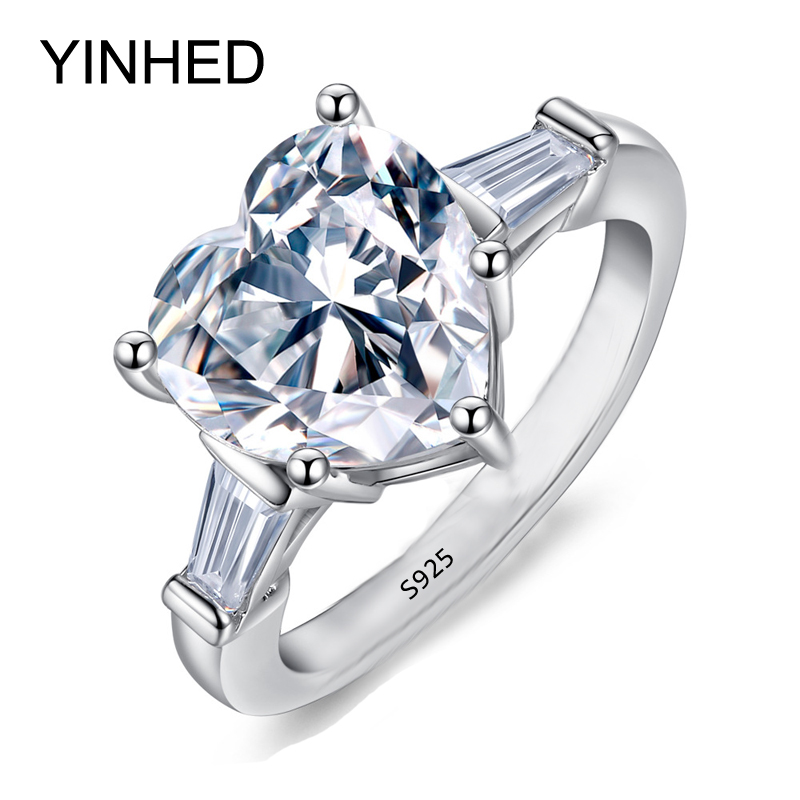 yinhed victoria wieck heart shape cz zircon engagement ring 100 real 925 sterling silver wedding - Cheap Wedding Rings Under 100