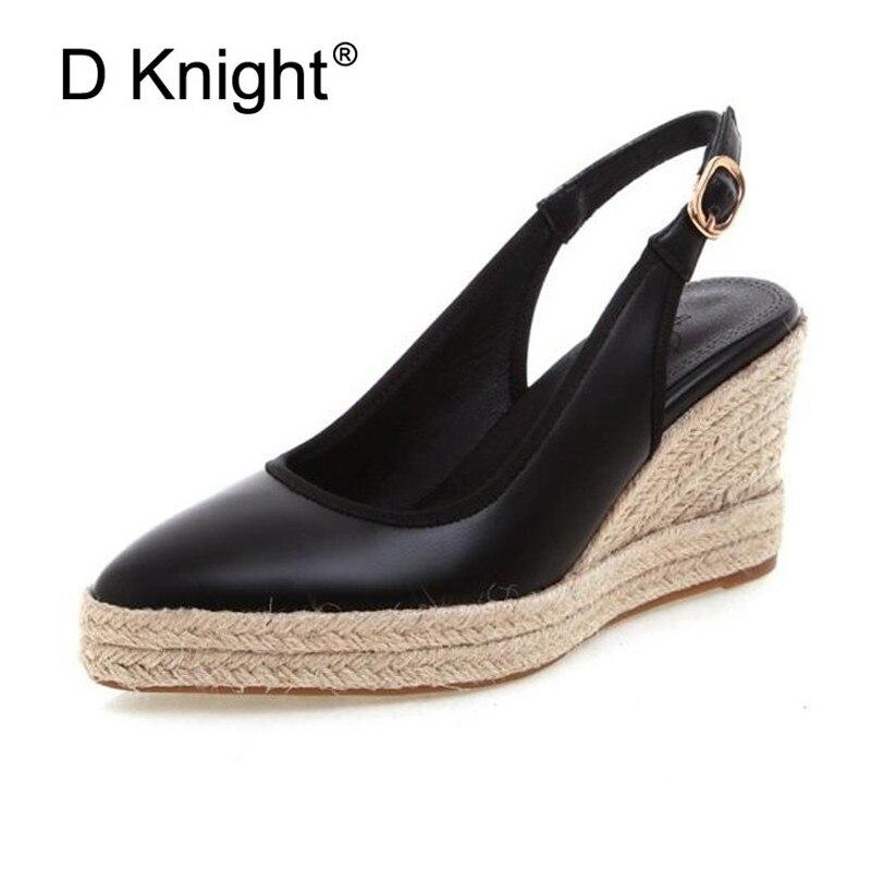 Plus Size 33-41 Women's Espadrille Sandals Ankle Strap Comfortable Wedges Ladies Casual Shoes Leather Hemp Womens Platform Pumps