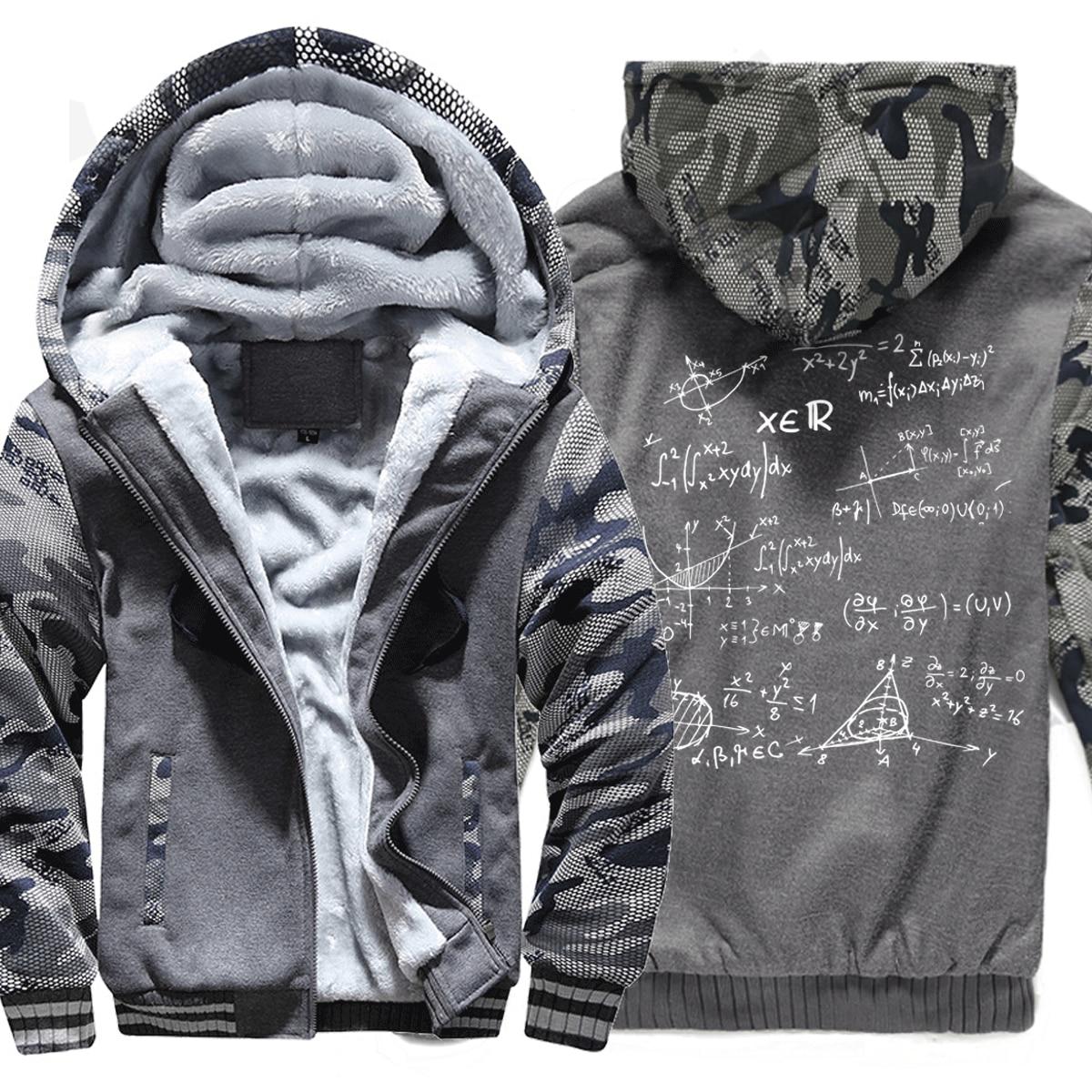 Sweatshirts Men Print Mathematical Formula Hoody 2019 Hot Sale Winter Thick Hoodie Men The Big Bang Theory Camouflage Tracksuit