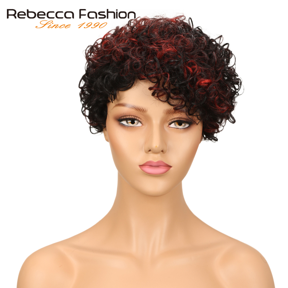 Rebecca Short Kinky Curly Wig Brazilian Sassy Curly Remy Human Hair Wigs For Black Women Brown Red Wine 10 Colors Free Shipping