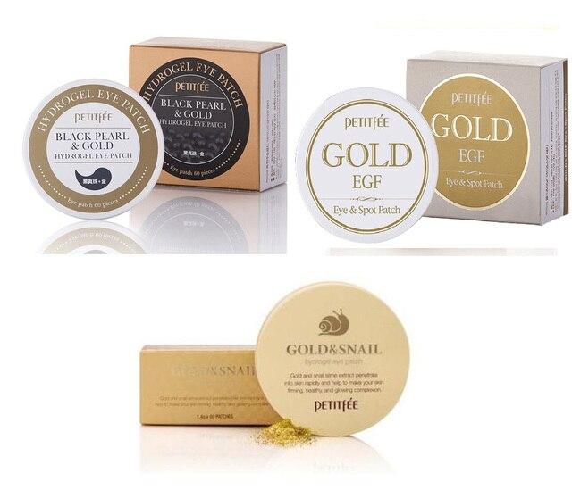 PETITFEE Gold Snail Eye Patch + Black Pearl Gold Eye Mask+ Gold EGF Spot Patch Korea Cosmetics 3
