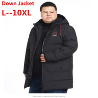 Big large size 10XL 9XL 8XL 6XL Brand 2018 Winter New Men's Fashion Warm Long Down Jacket Hooded White Duck Down Jacke Plus Size