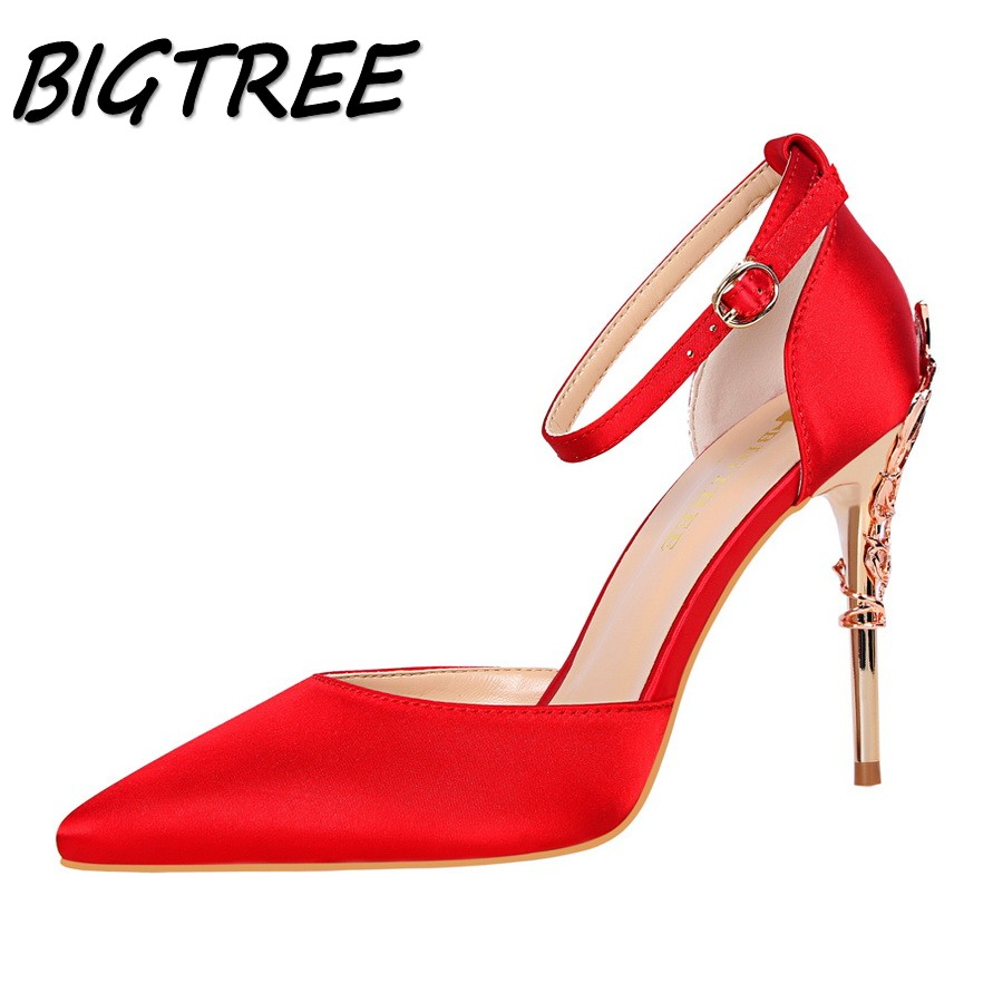 BIGTREE new women pumps high heels shoes woman Fashion Pointed Toe Metal heels party wedding Sweet strap stiletto shoes 34-39 new spring summer women pumps fashion pointed toe high heels shoes woman party wedding ladies shoes leopard pu leather