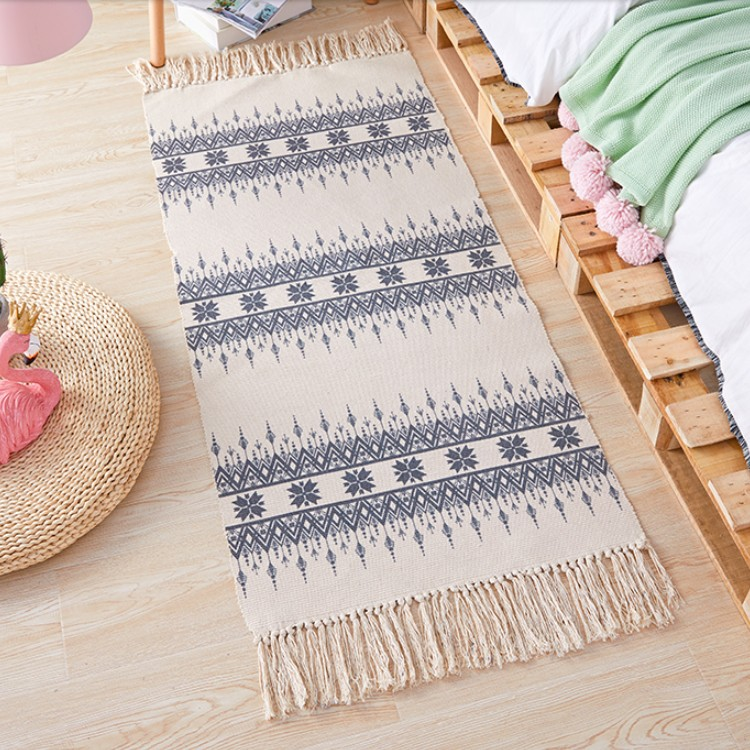 Nordic Cotton Linen Bedside Carpet Geometric Woven Mat Bathroom Living Room Carpets Hand Made Indian Rug Bohemia Printing Mat