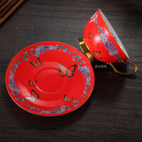 1Pcs Trendy Coffee Cup Plate Ceramic Cup Afternoon Tea Cup Birthday Gifts Red Tea Cup Household