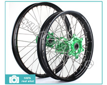 1Set Wheel rim Hub Spoke Motorcycle Wheels Front 21×1.6 Rear 18×2.15 For HONDA CRF 250 450 R 2002 2004 2005 2006 2007 2008 Green