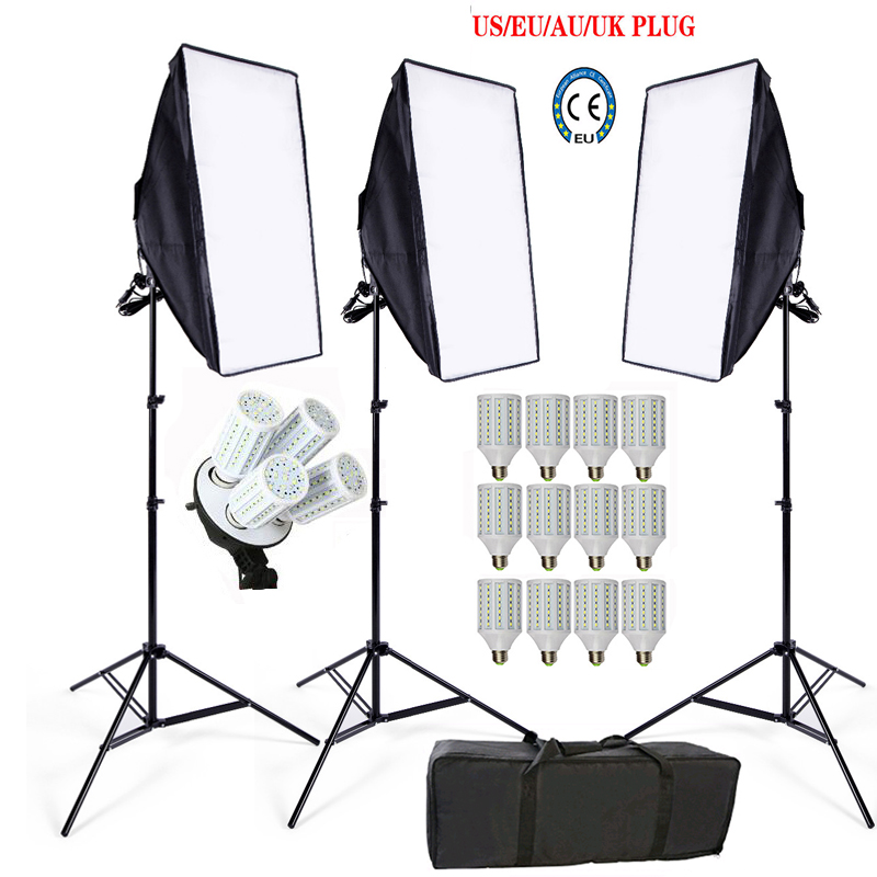 Photo Studio Softboxes kit 3 light stand 3 light holder 3 softbox 1pc carrying bag 12PCS 24W 60w LED video lighting kit soft box-in Photo Studio Accessories from Consumer Electronics    1