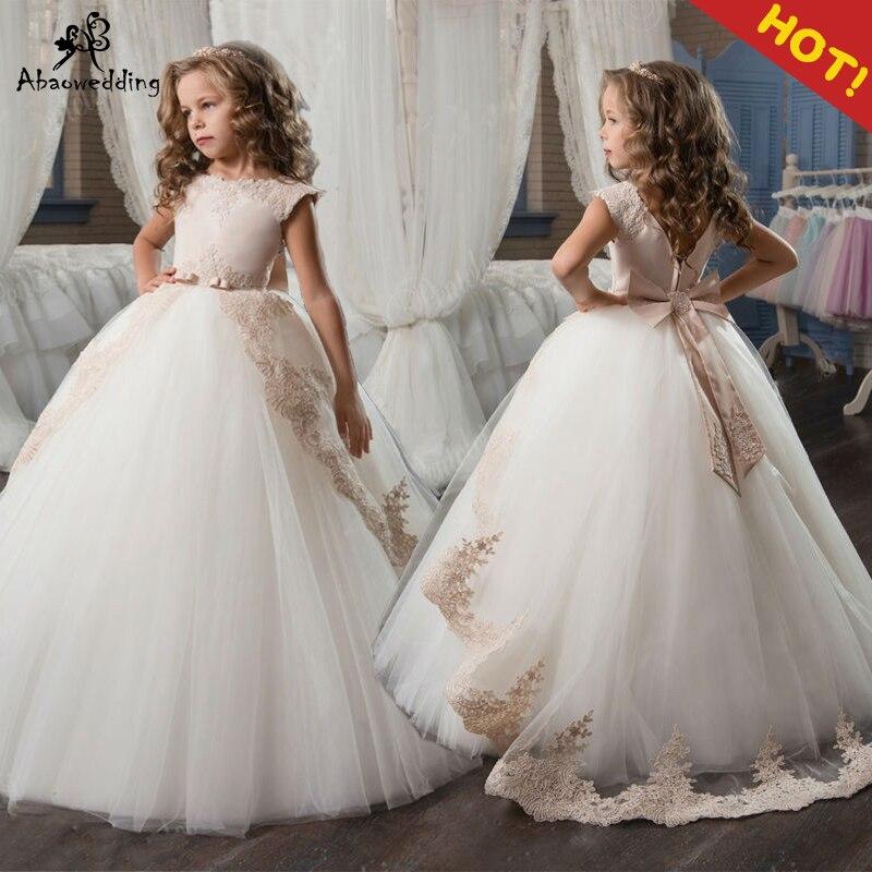 Champagne fleur fille robes avec ceinture dentelle Appliques sur mesure robe de bal première Communion robes pour les filles élégant offre spéciale