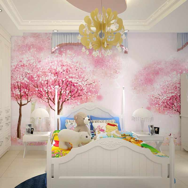 children's room girl room pink tree wallpaper bedroom bedside mural cartoon tree wallpaper wall sticker papel pintado beibehang