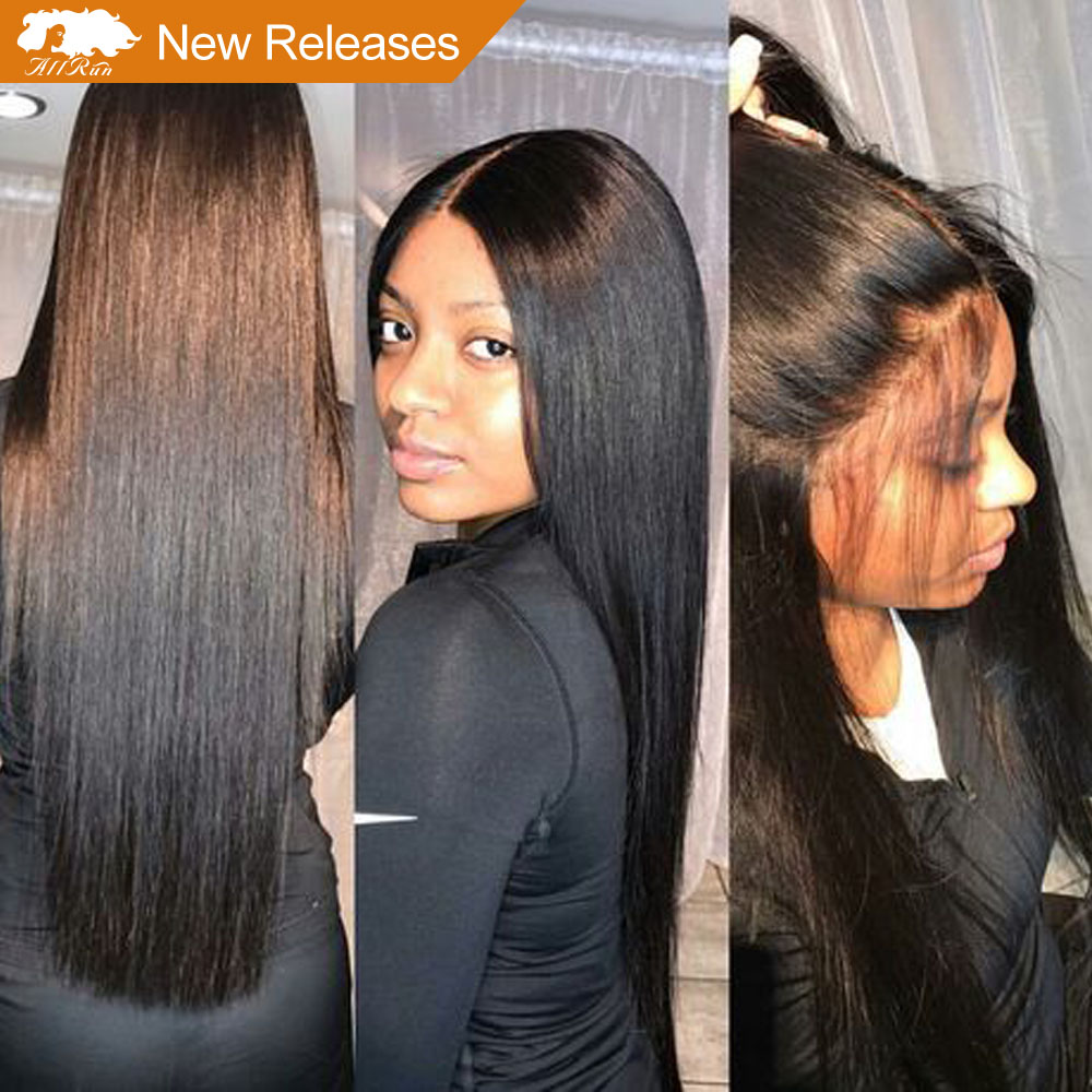 Allrun Brazilian Lace Front Human Hair Wigs With Baby Hair Full End Straight Lace Front Wigs 4*4 Closure Bleached Knots Non Remy(China)
