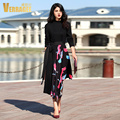 Verragee Women Autumn Winter Long Dress  Fashion Floral Print Patchwork Knitted Black Slim Long Dress Party Plus Size Dresses