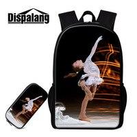 Dispalang 2pcs/set Backpack Ice Skating Girls Schools Bag Kids Pencil Case Kids Travel Shoulder Bag Students Stationery Book Bag