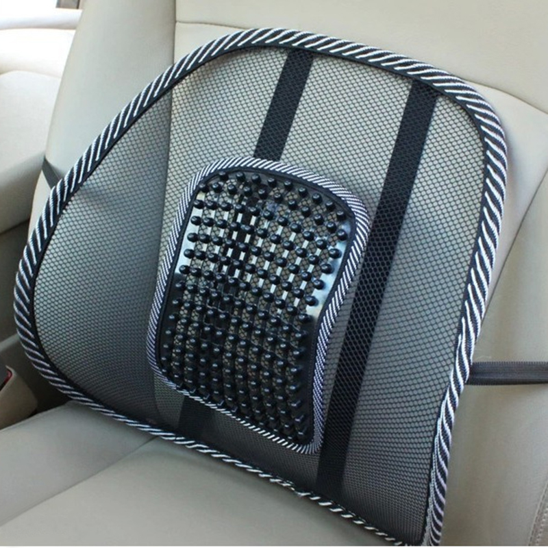 Cool Mesh Lumbar Back Brace Support Car Seat Chair Cushion Home Office Black Massager Posture Corrector Car Office Chair