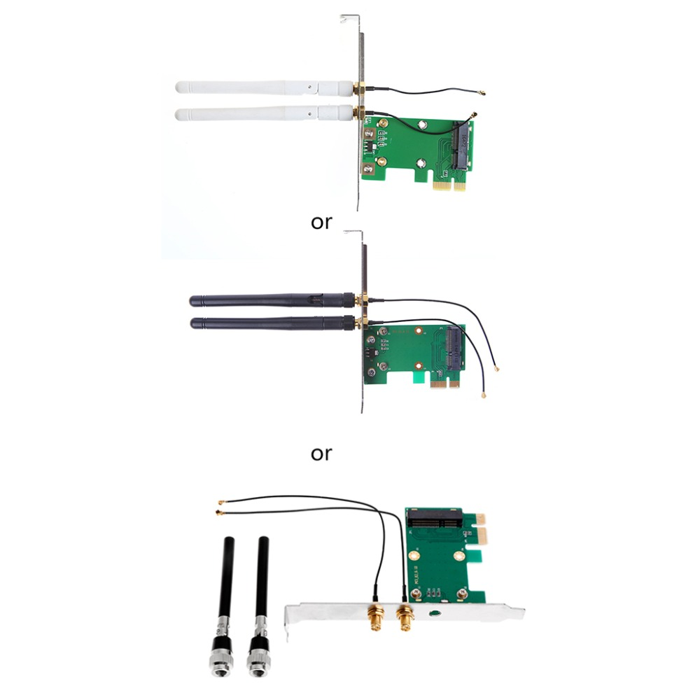Mini PCI-E To PCI-E 1X Desktop Adapter Convertor With Two Antennas For Wireless Wifi Network Card