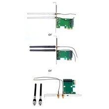 Mini PCI-E to PCI-E 1X Desktop Adapter Convertor with Two Antennas for Wireless Wifi Network Card