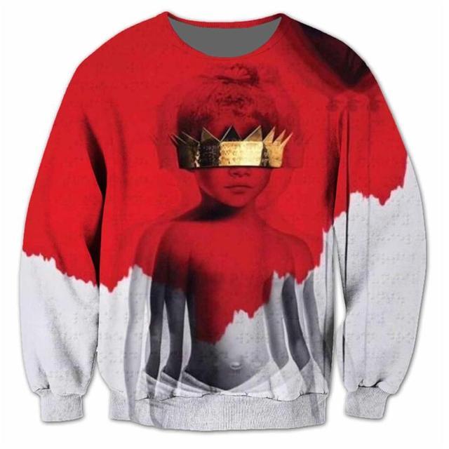 6fa347ebc9232 Alisister Rihanna Anti 3D Sublimation Print Sweatshirt Women Men Jumper  Outfits Hoodies Fashion Hip Hop Sweatershirts Large Size. 1 order