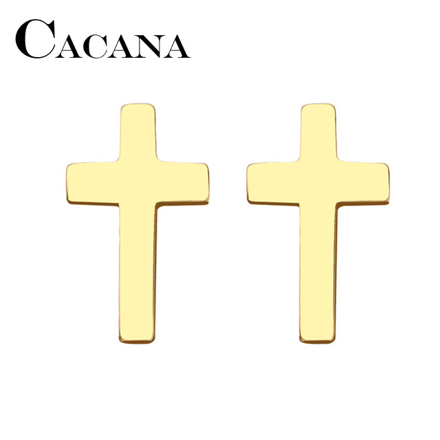 CACANA Stainless Steel Stud Earring For Women Man Cross Gold And Silver Color Lover s Engagement.jpg 640x640 - CACANA Stainless Steel Stud Earring For Women Man Cross Gold And Silver Color Lover's Engagement Jewelry Drop Shipping