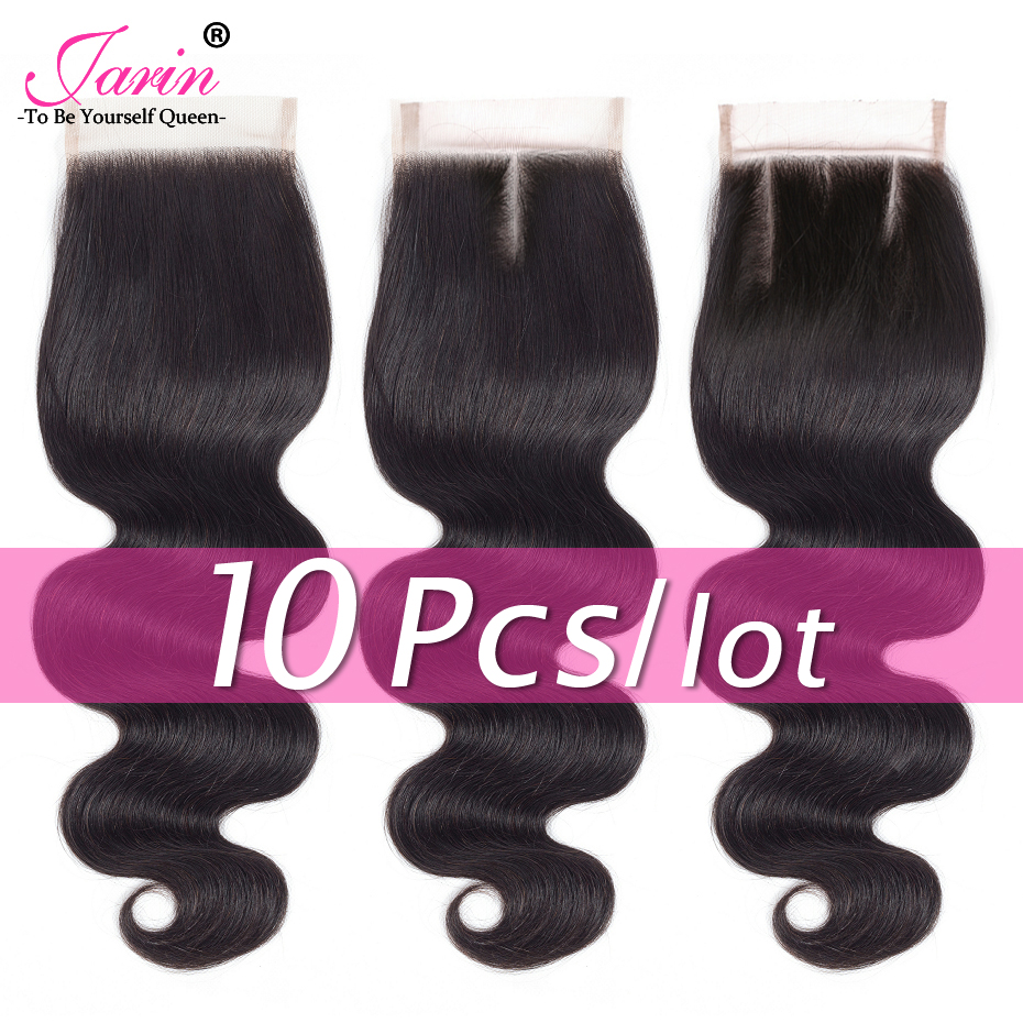 Jarin 10 Pieces/lot Brazilian Hair Body Wave Lace Closure Free/Middle/Three Part Human Hair 4x4 Inch Lace Closure 100% Remy Hair-in Closures from Hair Extensions & Wigs    1