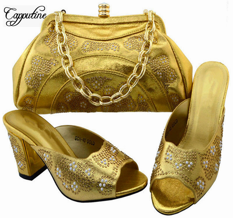 Capputine Italian Rhinestone Gold Color Shoes And Bag Set New Summer Rhinestone Nigerian Shoes And Bag Sets Free Shipping BCH-40 capputine new arrival woman shoes and bag set nigerian design high heels shoes and bag sets for party free shipping bch 40