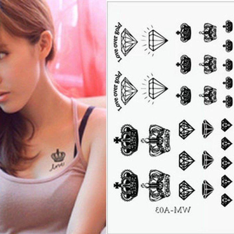 Us 078 23 Offsex Temporary Tattoo Tatoo Waterproof Stickers Make Up Crown Diamond Tattoo Punk Newest In Temporary Tattoos From Beauty Health On