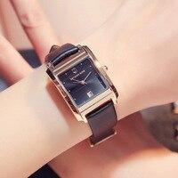 Relogios Feminino New Luxury Brand Watch Women Fashion Design Rectangular Calendar Quartz Watches Casual Genuine Leather Watch