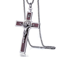 Stainless steel cross necklace fashionable titanium steel pendant retro inlay wooden grain hanging decorations
