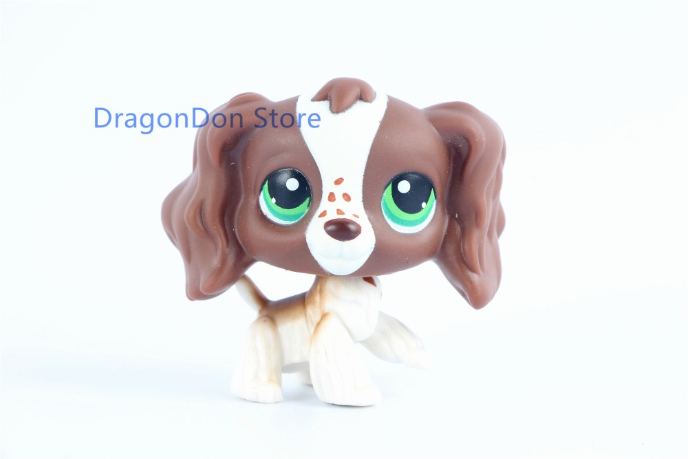 New pet Genuine Original #156 LPS Brown Cocker Spaniel Dog Green Eyes Animal Toy new pet genuine original lps 58 brown collie dog puppy blue eyes lps kids toys
