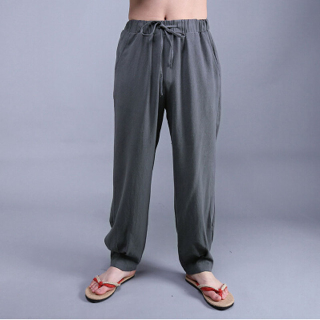 45a2ea4337e Summer Chinese Style Men s Solid Color Casual Linen Pants Male Plus Size  Loose Bloomers Linen Water Wash Trousers