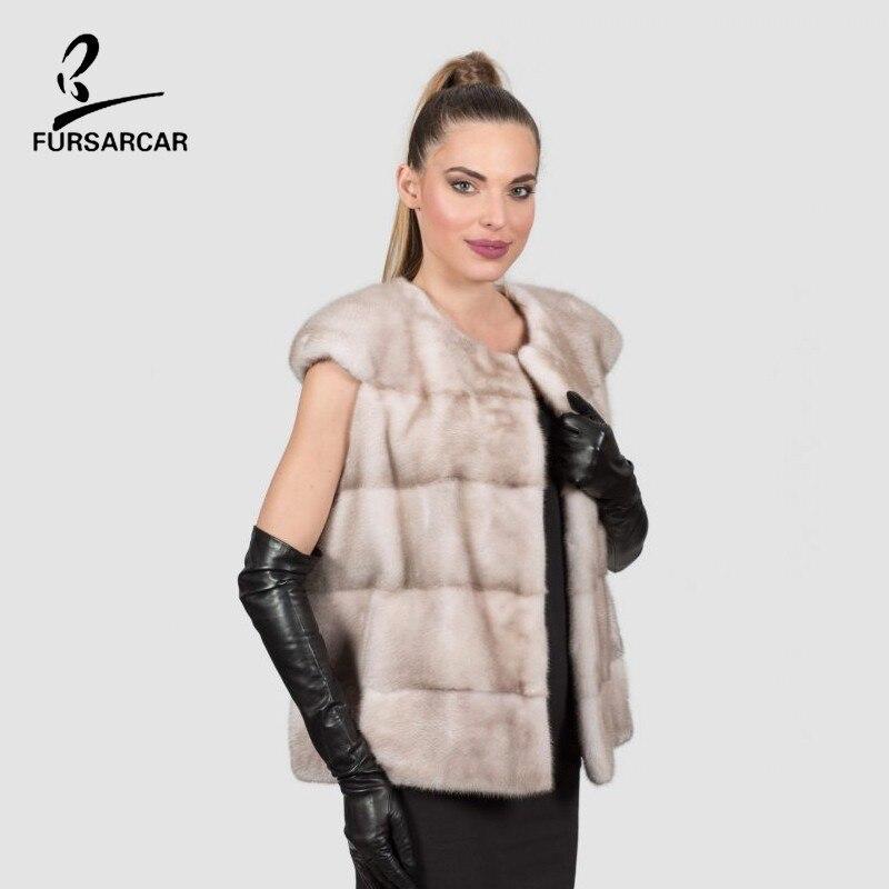 FURSARCAR 2019 New Fashion Luxury Women Short Style Beige Real Natural Mink Fur Winter Vest For Female Genuine Real Fur Gilet
