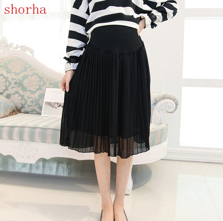 Summer New 2018 Medium-long Pregnant Women Skirts Maternity Clothes Fashion Chiffon Pleated Puff Skirt Pregnancy Casual Skirt