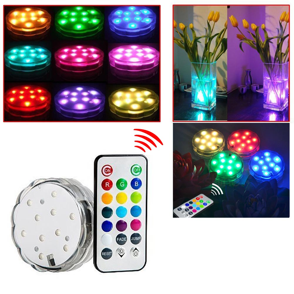 Submersible LED Underwater Lights Multi Color Waterproof Light LED Light With Romote Control For Swimming Pool Light Tank Lamp