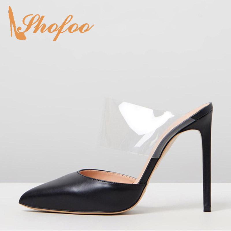 Black PVC High Stilettos Sandals Woman Pointed Toe Slip On Thin Heels Large Size 11 12 For Ladies Summer Shoes Mature FashionBlack PVC High Stilettos Sandals Woman Pointed Toe Slip On Thin Heels Large Size 11 12 For Ladies Summer Shoes Mature Fashion