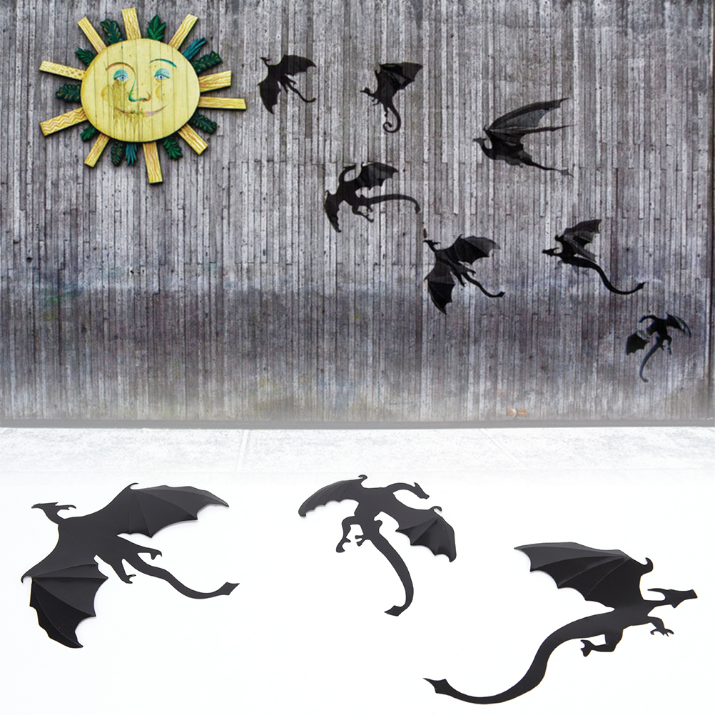 7pcs Boys Thrones Inspired 3D Dragon Wall Art Dragon Silhouettes Halloween Rooms Fun life Game of Decor Dinosaurs(China)